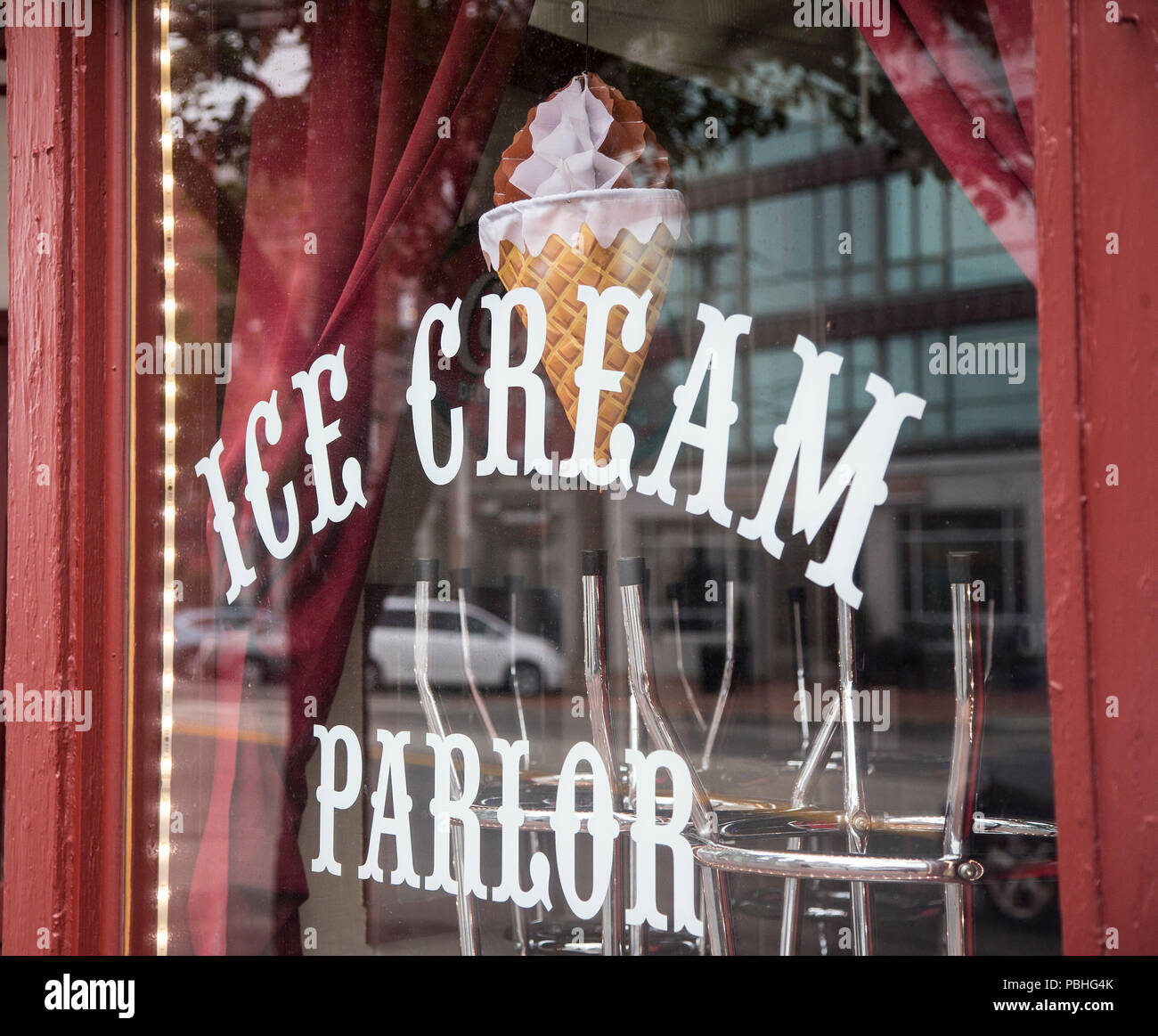 Ice cream parlor sign in a storefront window in Portland, Maine Stock Photo