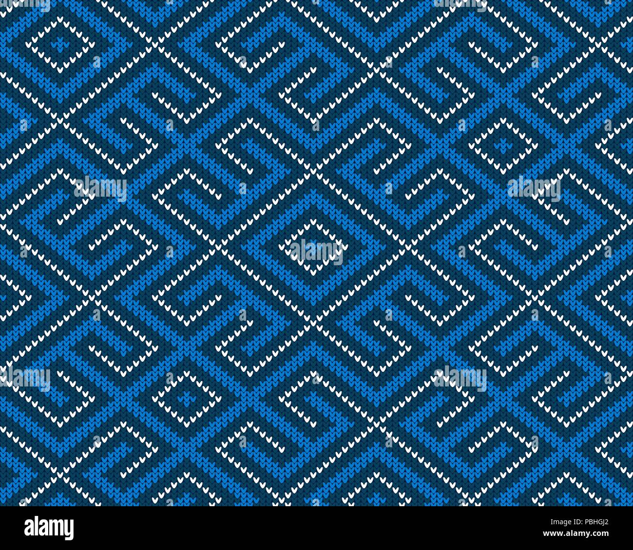 Seamless knitted Old Russian national woolen pattern. Design Blue Labyrinth - Stock Image