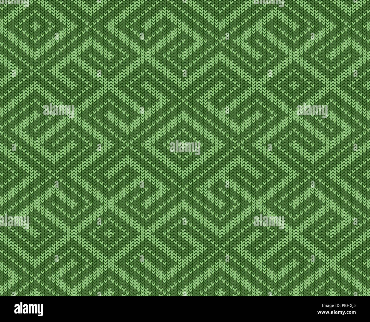 Seamless knitted Old Russian national woolen pattern. Design Green Labyrinth - Stock Image