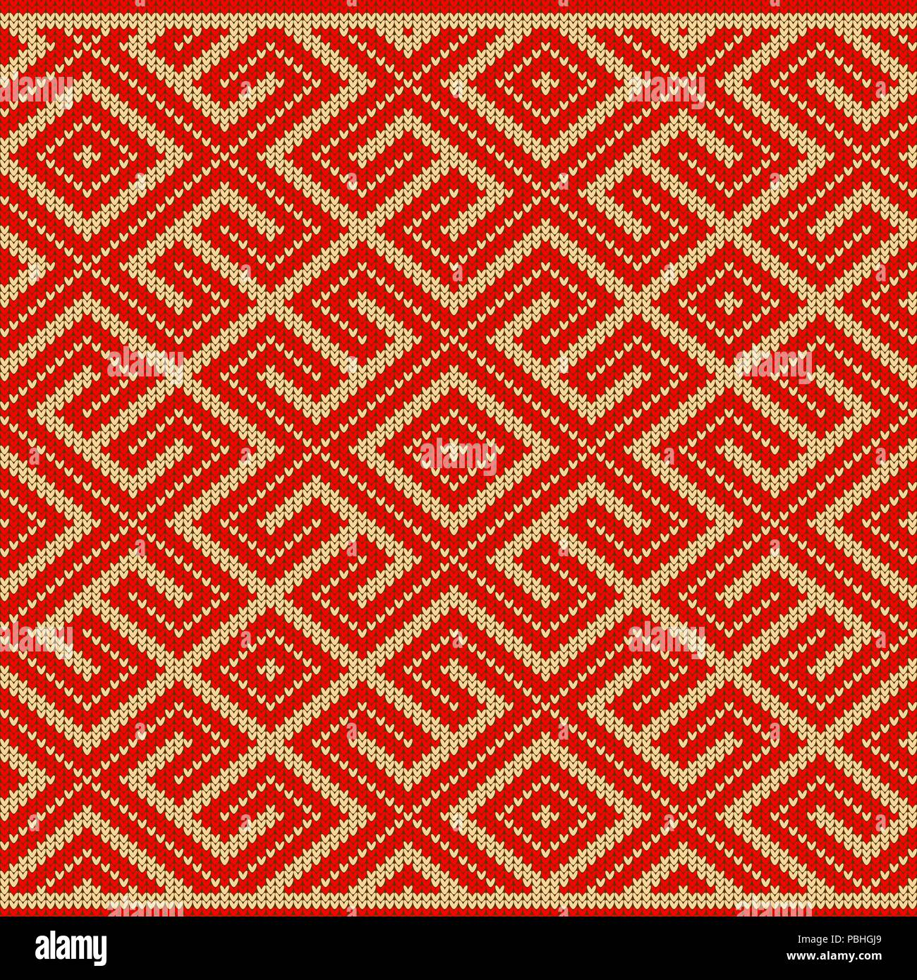 Seamless knitted Old Russian national woolen pattern. Design Labyrinth - Stock Image