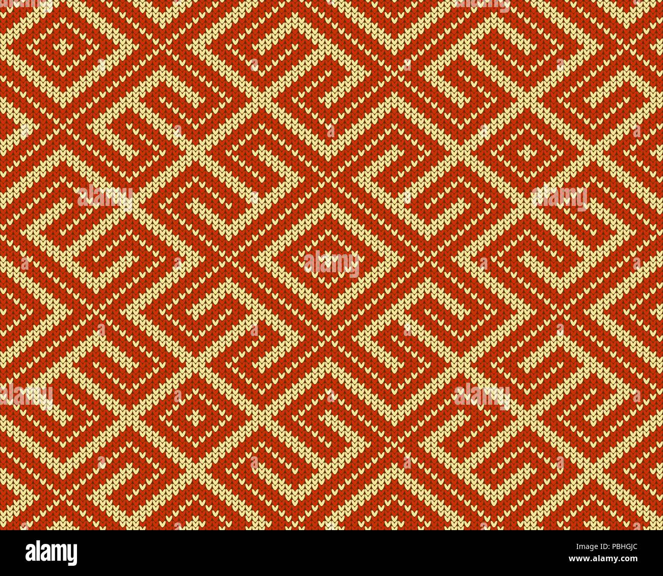 Seamless knitted Old Russian national woolen pattern. Design Orange Labyrinth - Stock Image