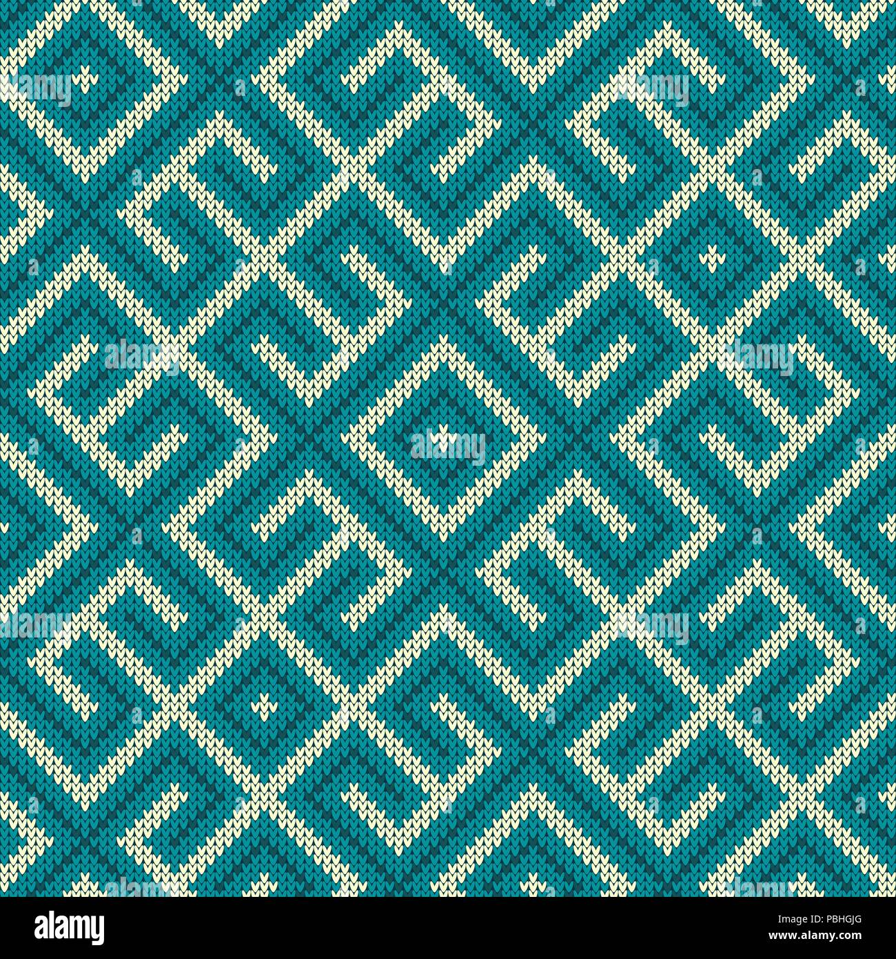 Seamless knitted Old Russian national woolen pattern. Vintage Blue Labyrinth - Stock Image
