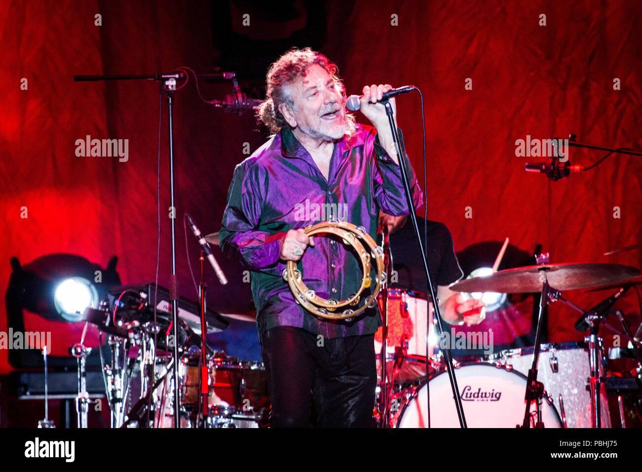 Milan Italy 27 july 2018 Robert Plant & The Sensational Space Shifters  live at Milano Summer Festival 2018 at Ippodromo San Siro © Roberto Finizio /  - Stock Image