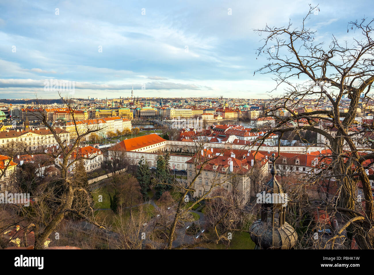View of Prague over houses with red roofs  Amazing view from above
