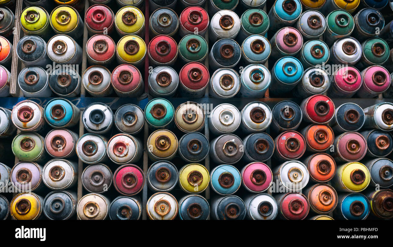 Spray Cans Stacked On A Wall, Istanbul, Turkey Stock Photo