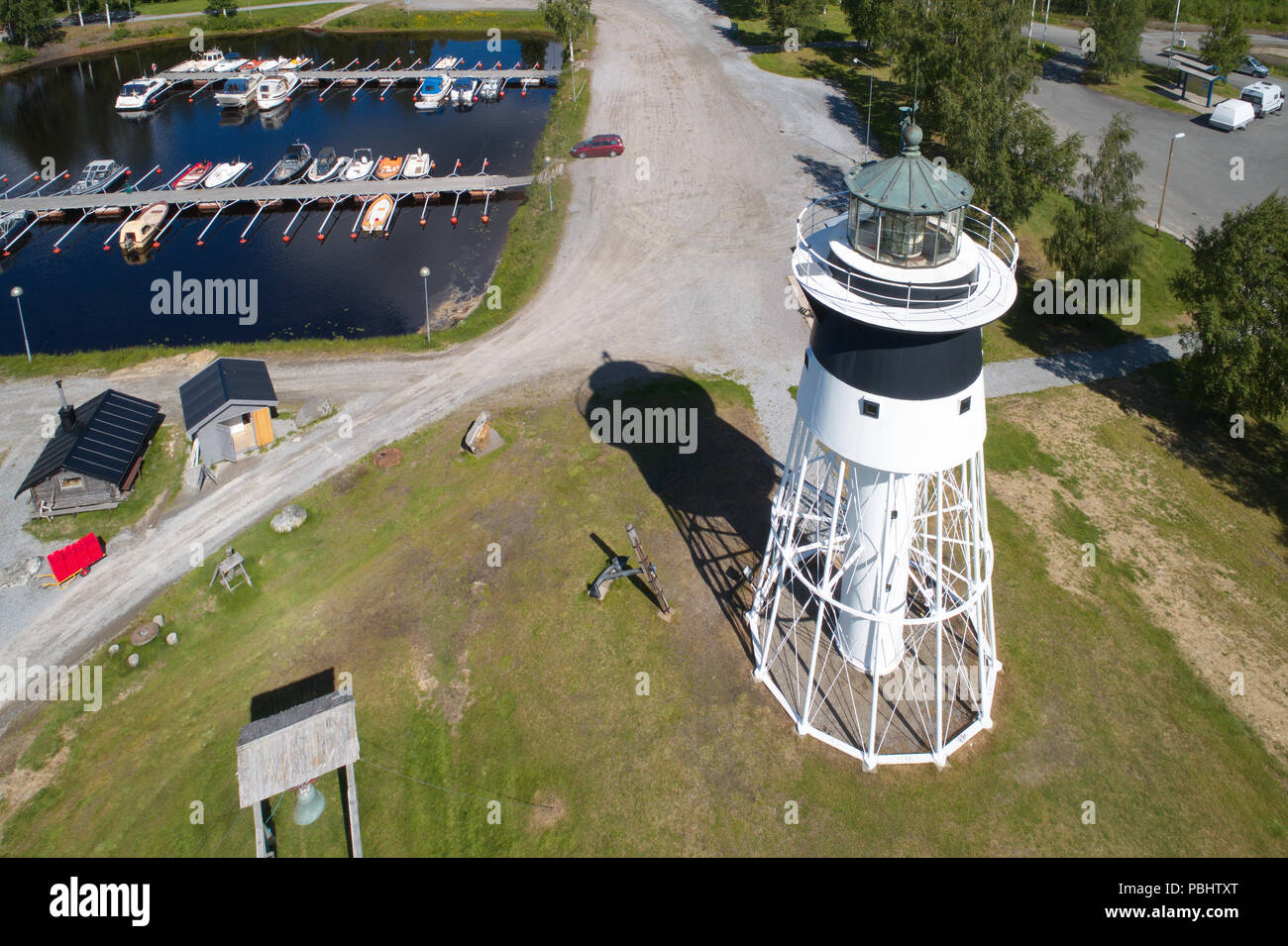 Javre, Sweden - June 21, 2018: Aerial view of the lighthouse at Javre. Stock Photo