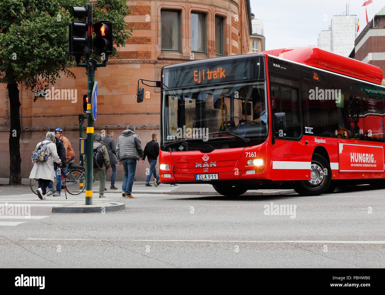 Stockholm, Sweden - September 8, 2017: One public transport bus not