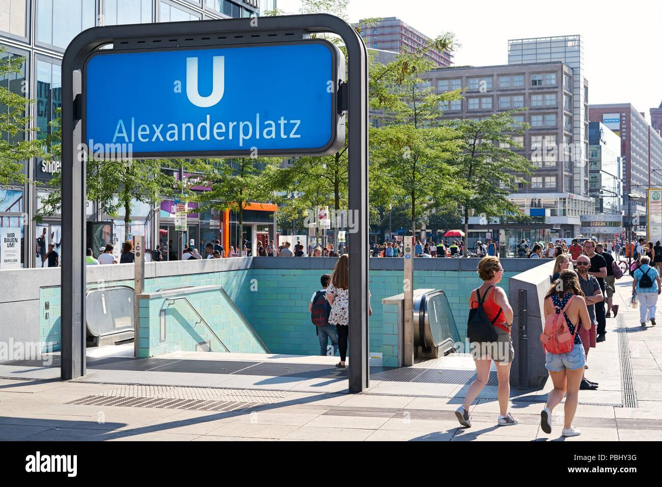Access to the underground station Alexanderplatz in Berlin Stock Photo