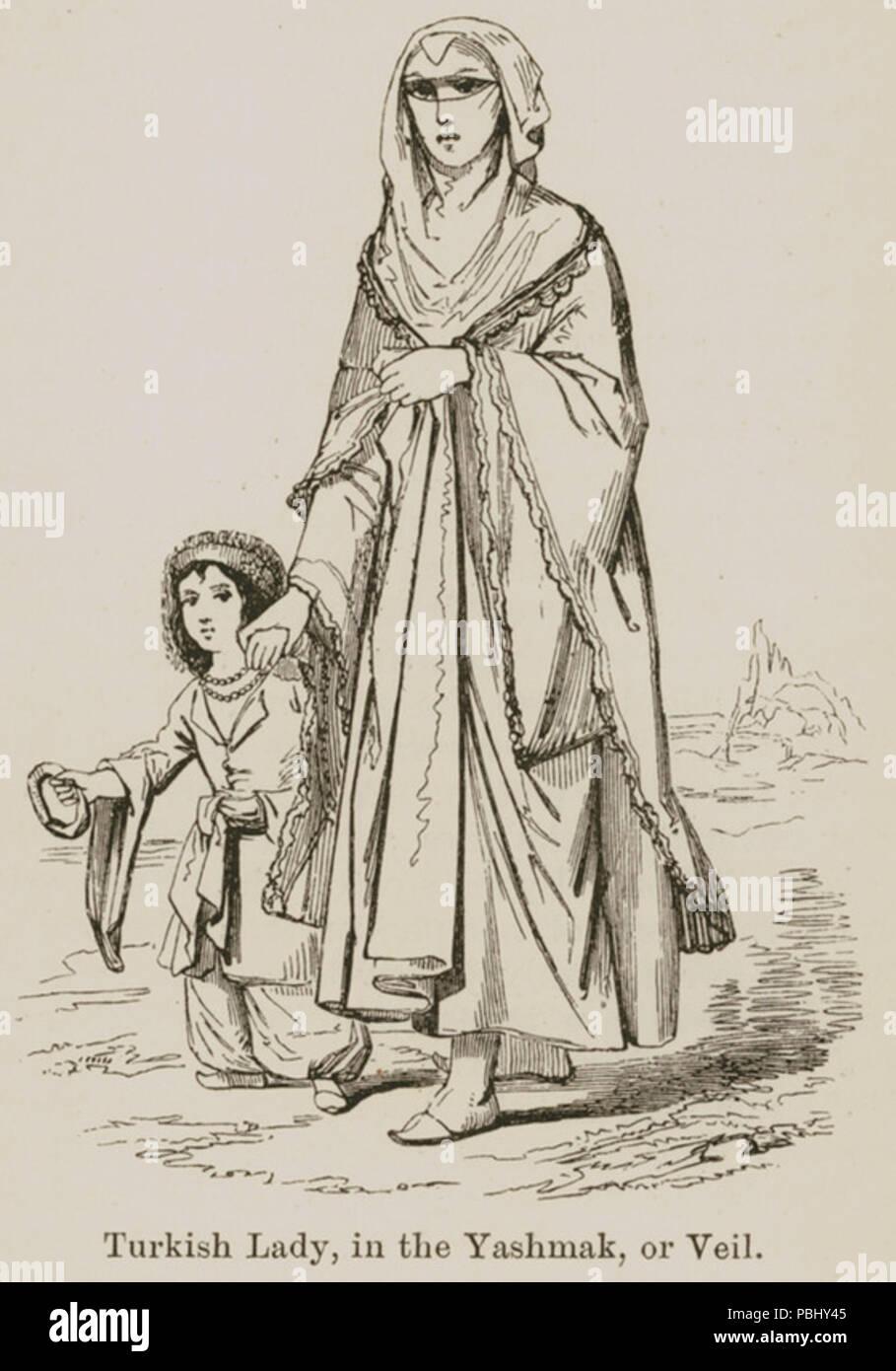 1777 Turkish lady, in the yashmak or veil - Curzon Robert - 1849 - Stock Image