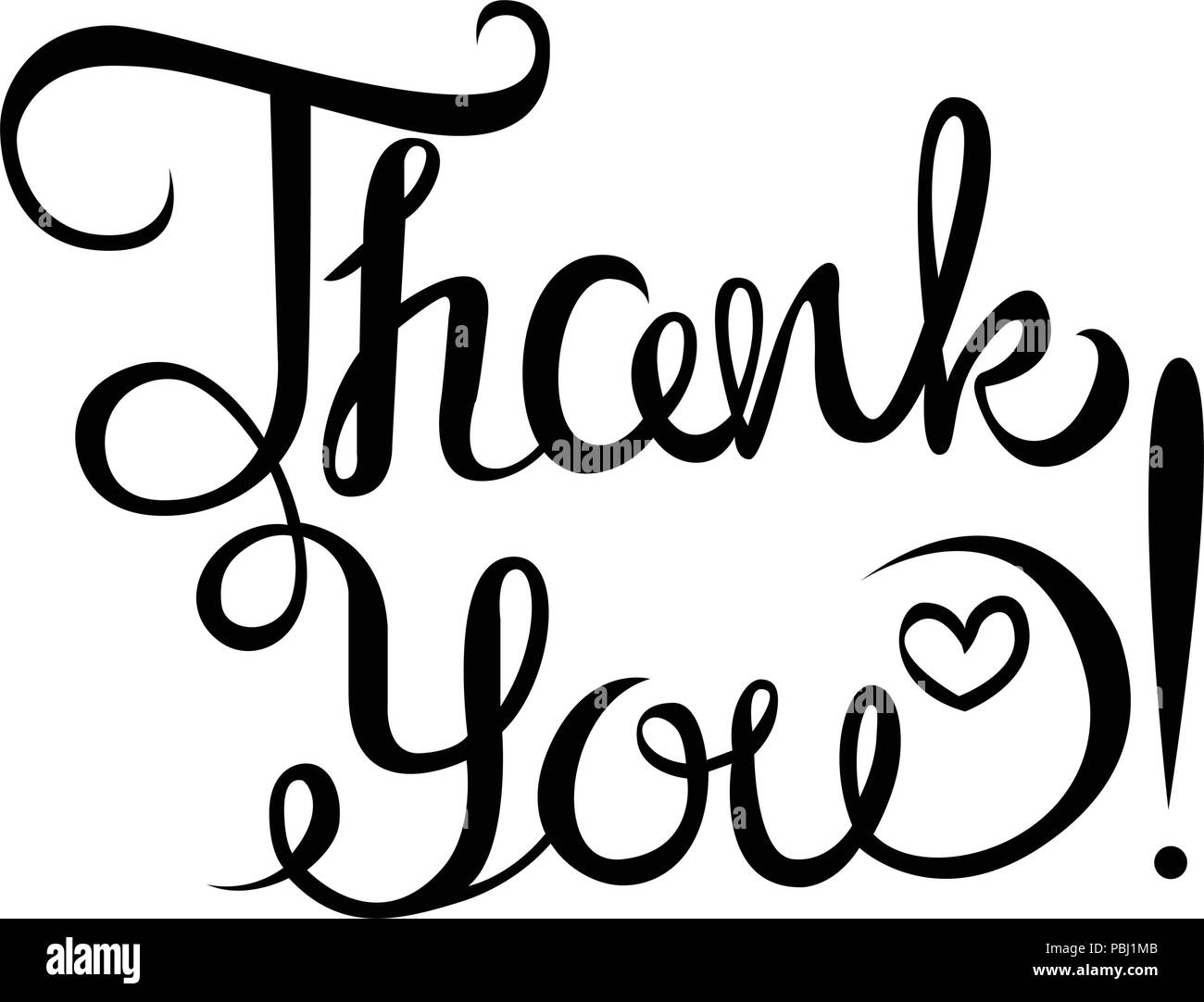 Thank you hand-drawn phrase. Lettering. vector isolated image on white background. - Stock Vector