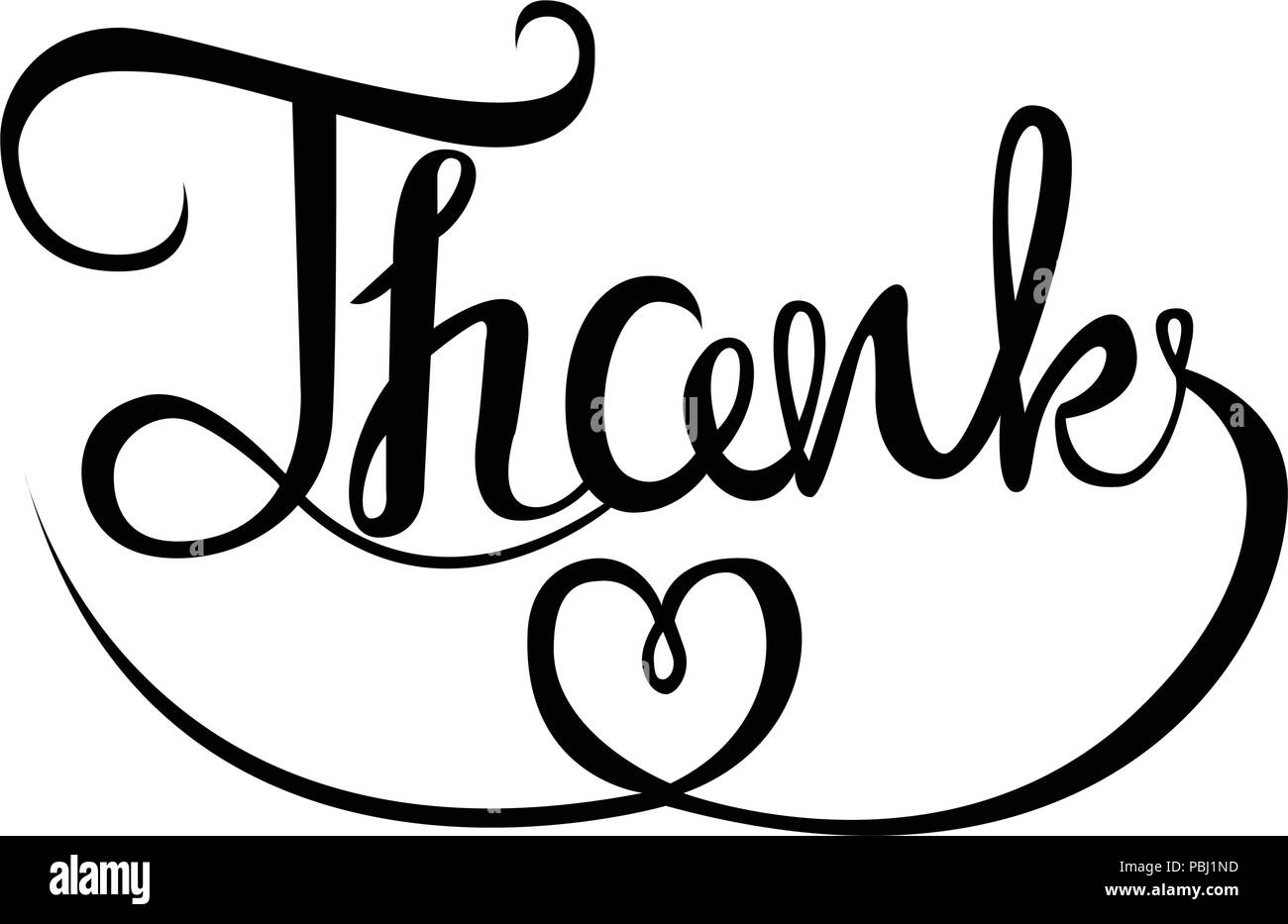hand drawing of thank you words lettering vector isolated image on