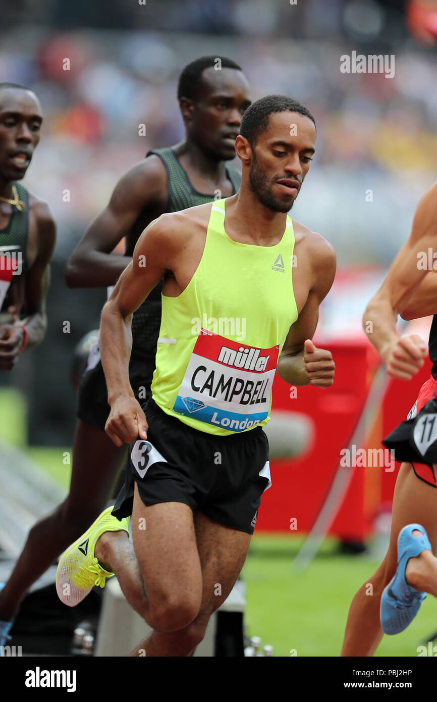 Kemoy CAMPBELL (Jamaica) competing in the Men's 5000m Final at the 2018, IAAF Diamond League, Anniversary Games, Queen Elizabeth Olympic Park, Stratford, London, UK. - Stock Image