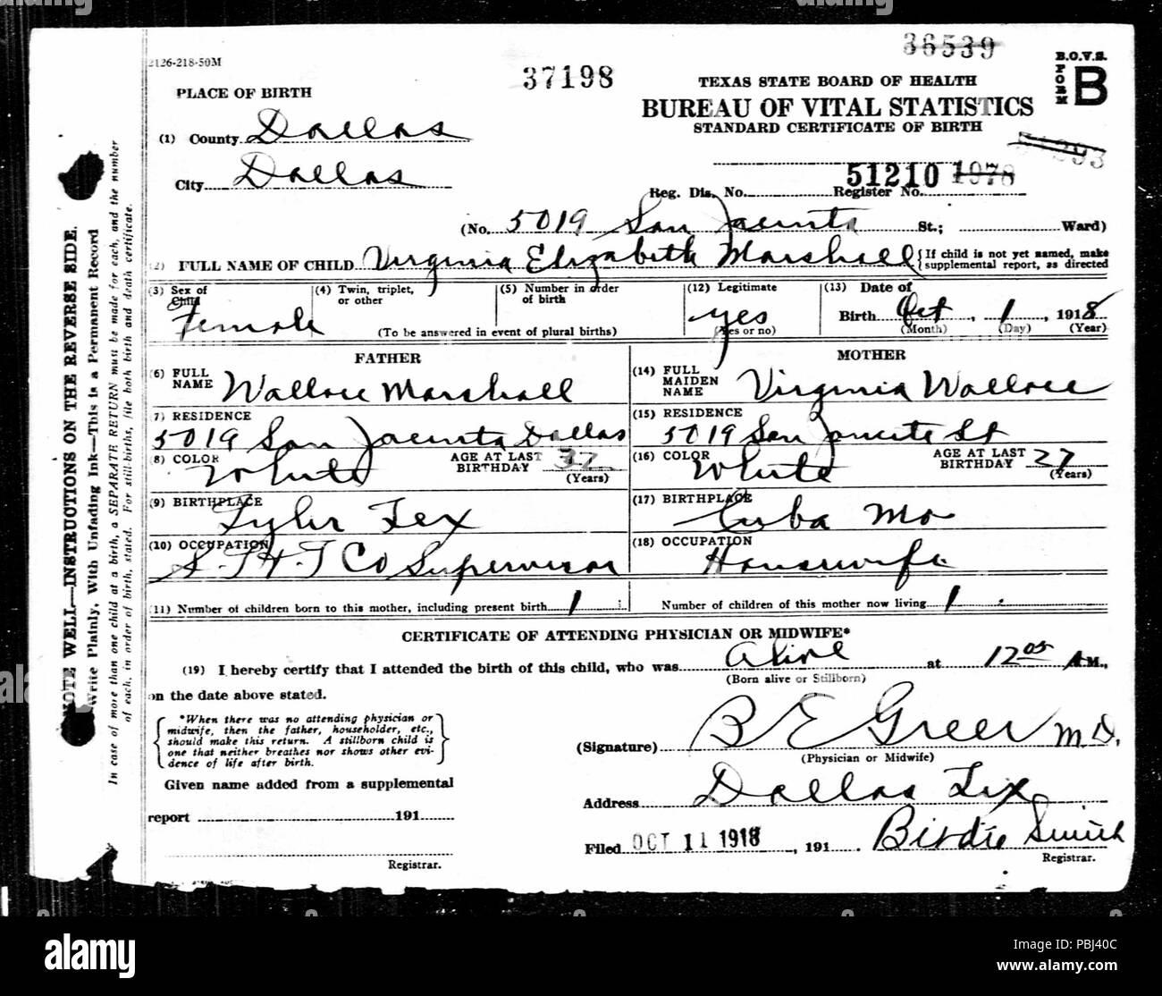 1821 Virginia Elizabeth Marshall Birth Certificate Stock Photo