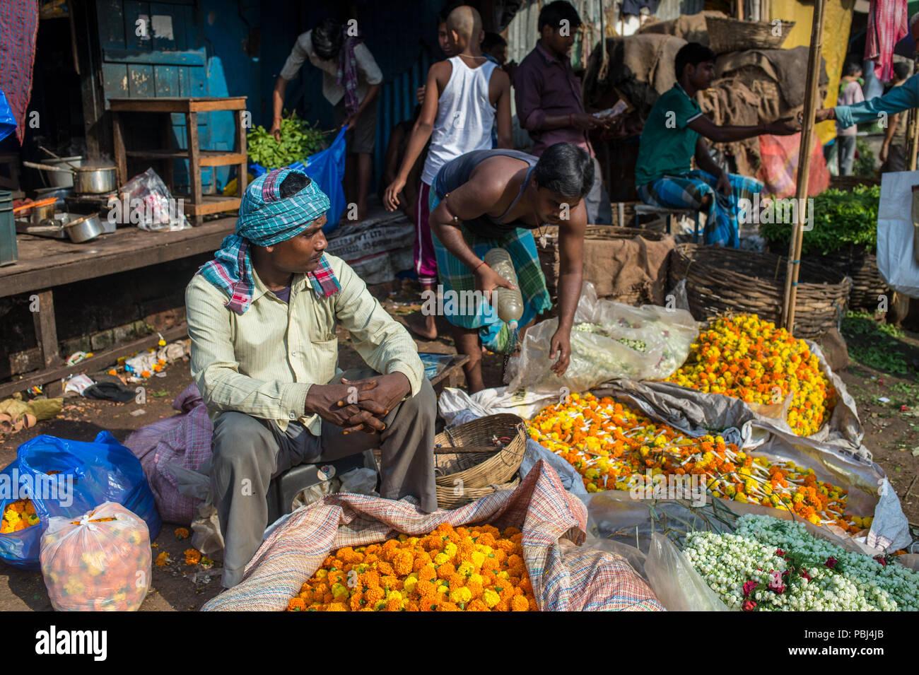 Flowers Market, Kolkata, West Bengala, India, Asia - Stock Image
