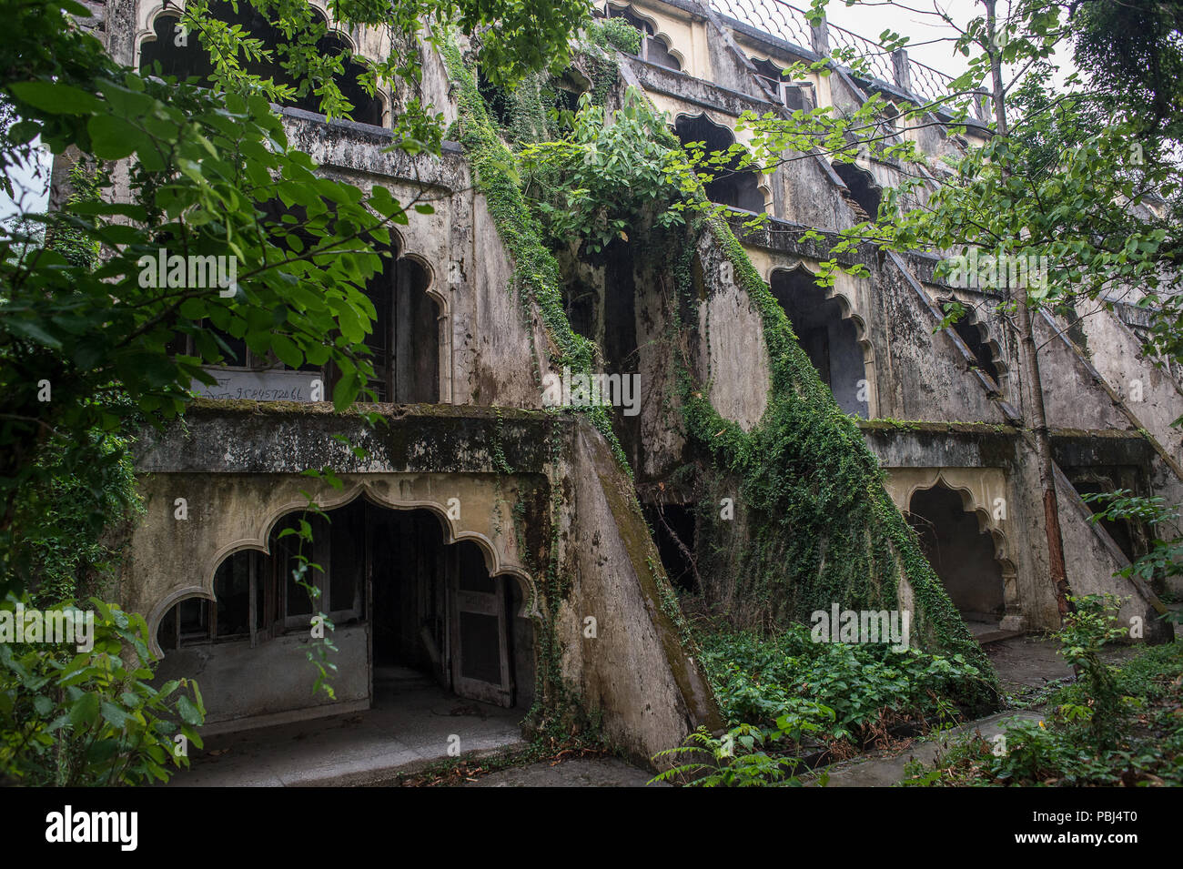 The Swarg Ashram by Maharishi Mahesh, visited by The Beatles, in the 60s. Rishikesh, India - Stock Image