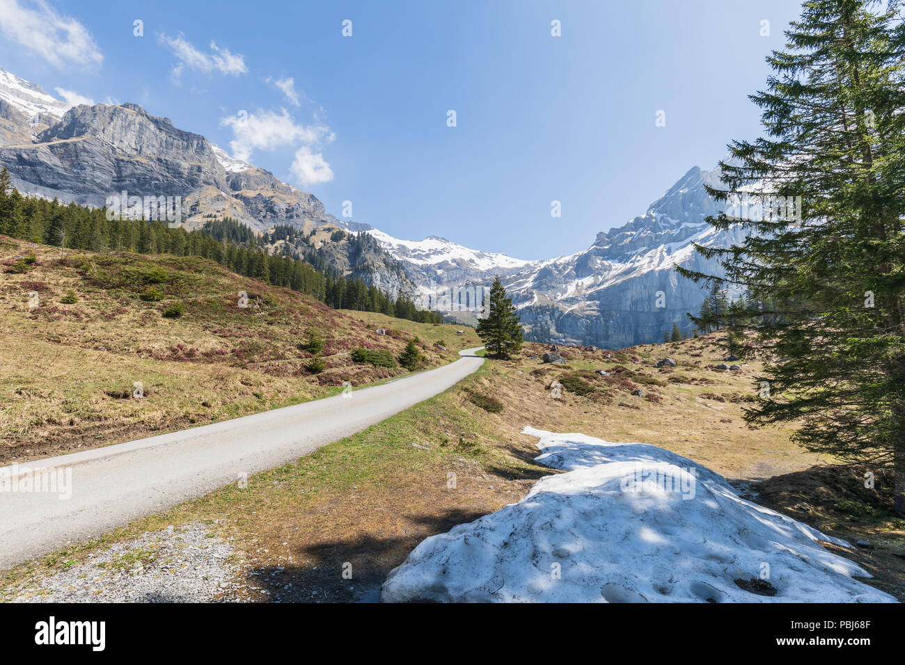 Panorama view of the Alps on a snow covered hiking path near Kandersteg switzerland Stock Photo