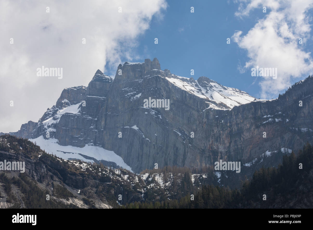 Panorama view of the Alps on a hiking path near Kandersteg switzerland Stock Photo
