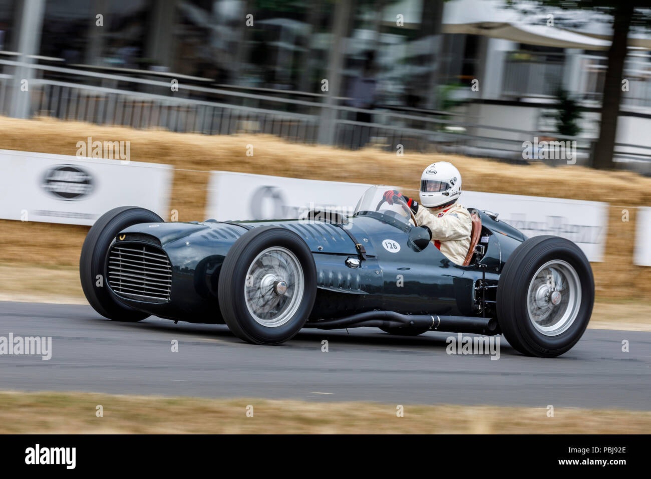 1950 BRM Type 15 V16 with driver Doug Hill at the 2018 Goodwood Festival of Speed, Sussex, UK. - Stock Image