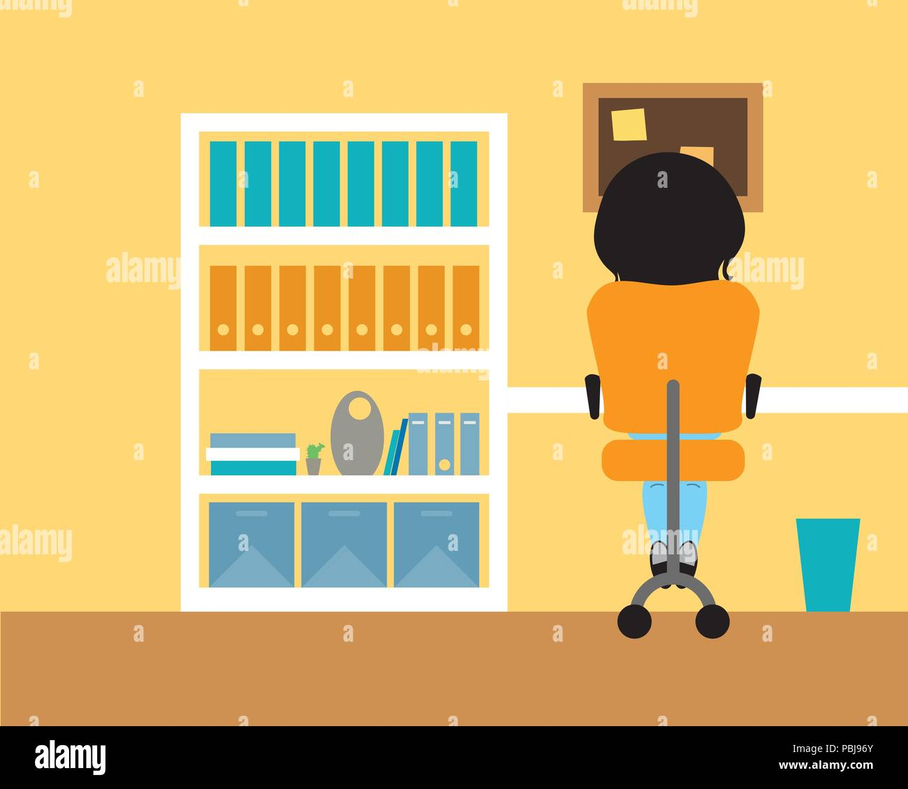 Young woman sitting in a room on a chair at the table and trash can, working from home or studying in the school, or write homework - vector - Stock Vector