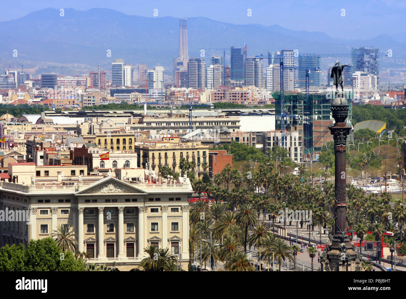 details panoramic view of Barcelona, from Mont Juic - Stock Image