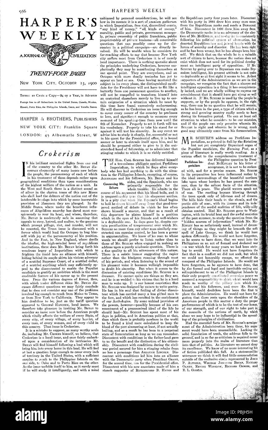 744 Harper's Weekly Editorials on Carl Schurz - 1900-10-13 - Perfidious Imperialism - Stock Image