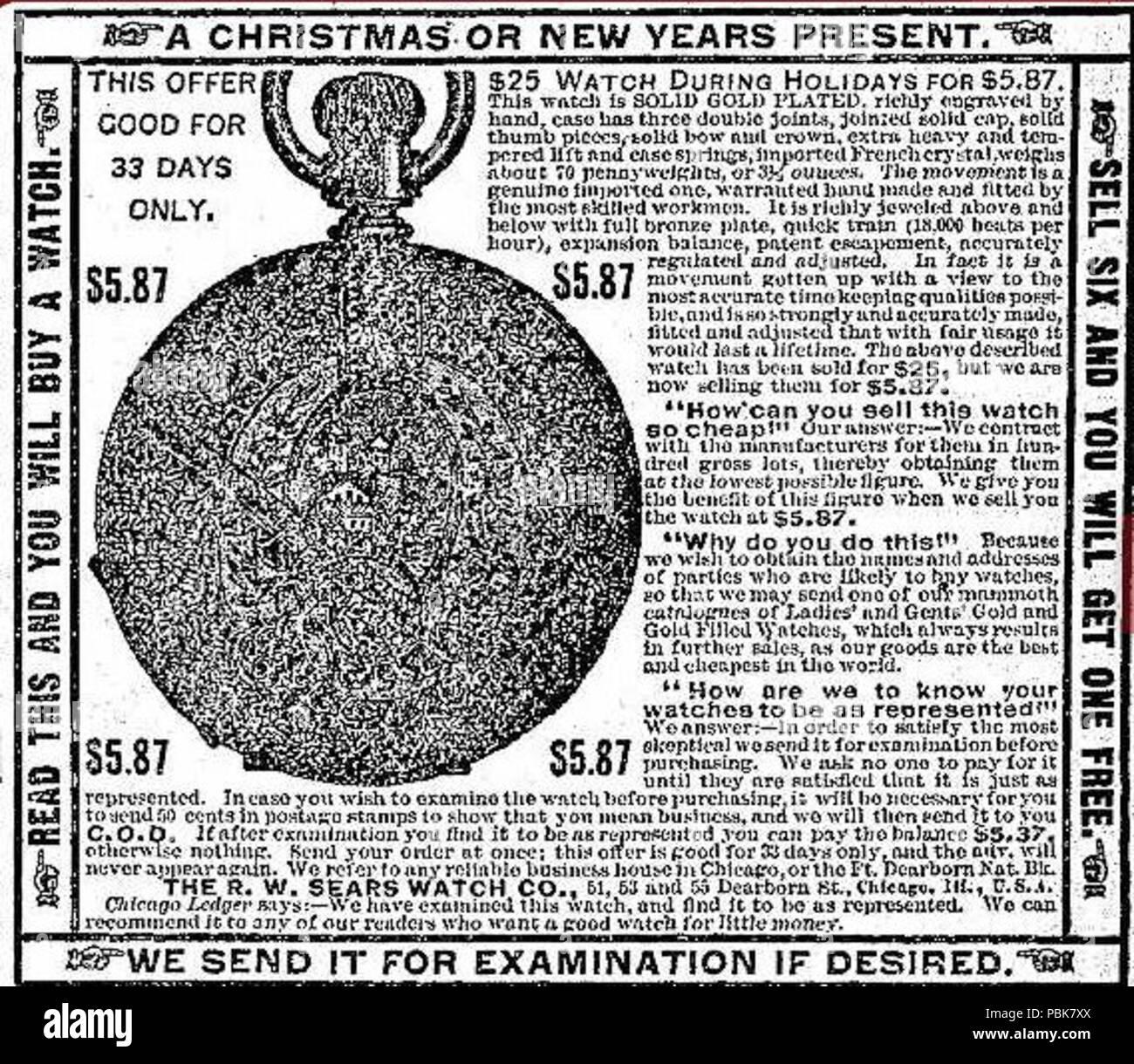 1279 RW Sears Watch Advertisement 1888 Stock Photo