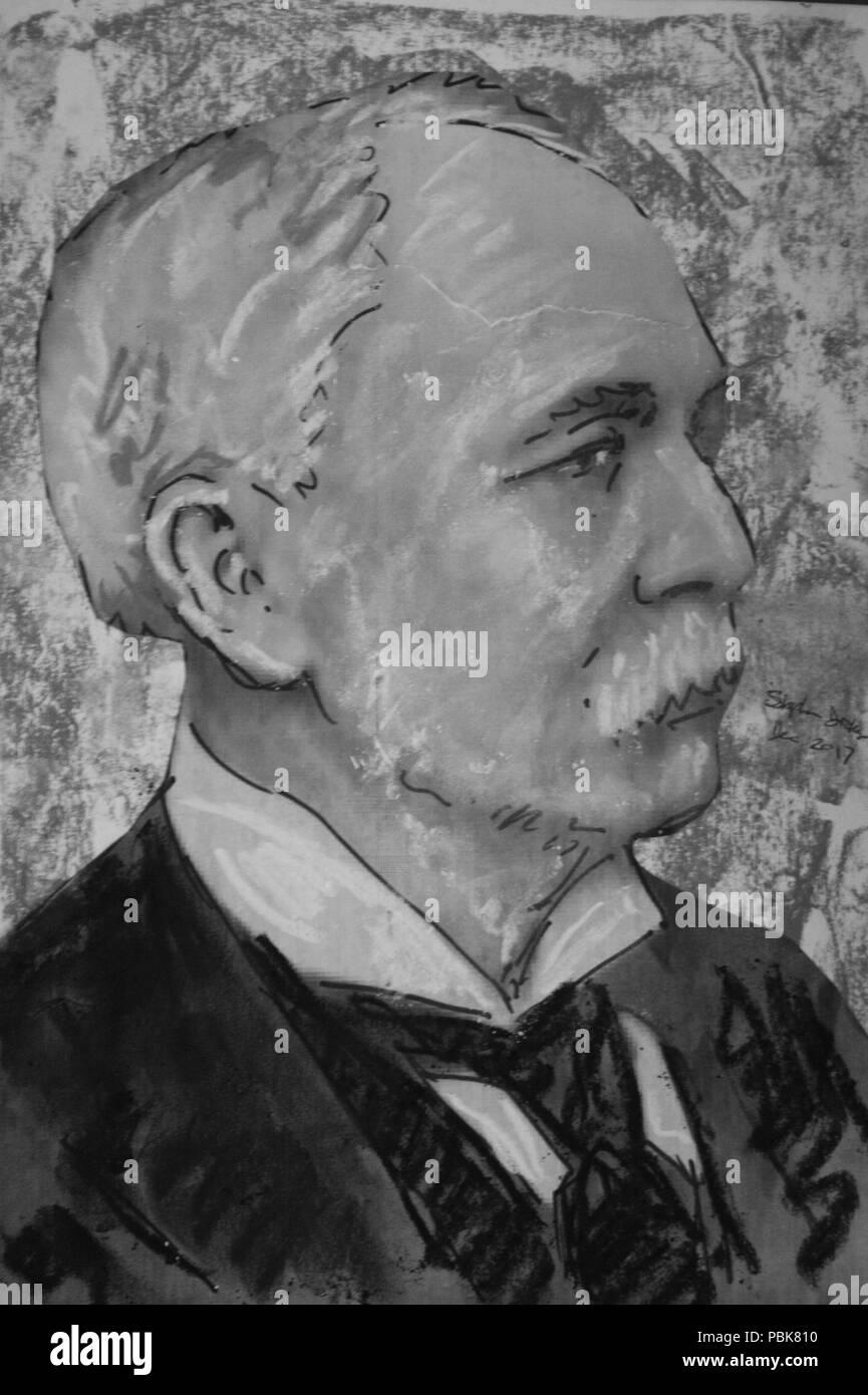1172 pastel portrait of sir william bilsland by stephen c dickson stock image