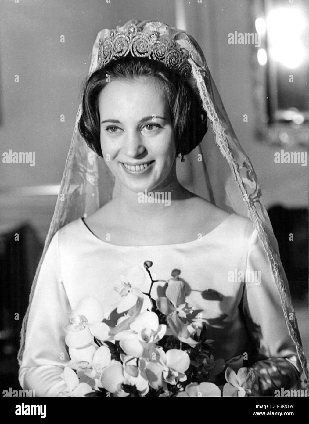 A-wedding-photo-of-Princess-Benedikte-of-Denmark-February-4-1968- - Stock Image