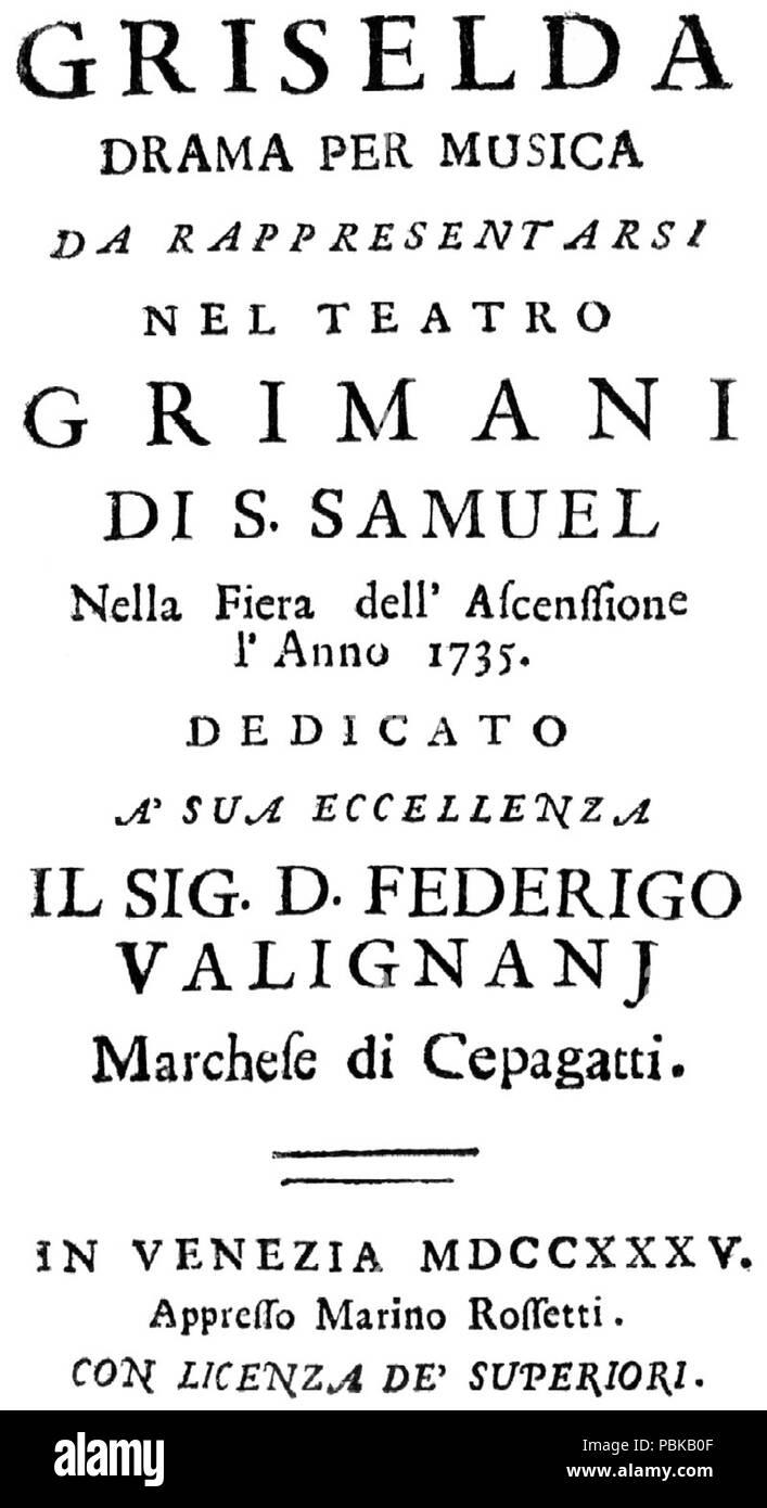 731 Griselda by Vivaldi Libretto Cover - Stock Image