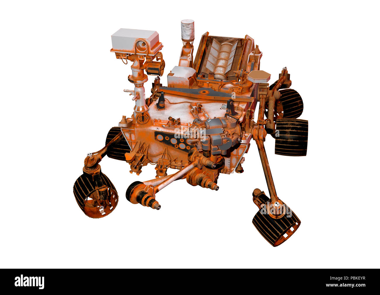 3D rendering of a Mars rover space vehicle isolated on white background - Stock Image