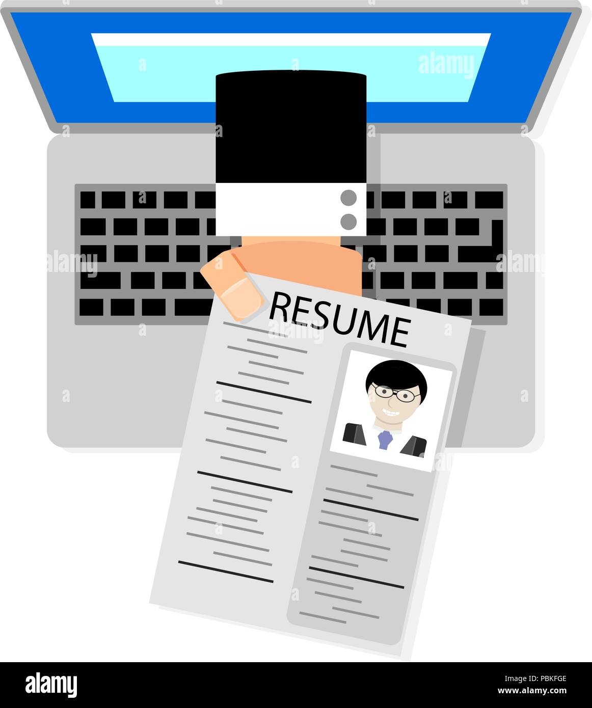 hand holding cv resume from screen laptop vector illustration job hunting and find a job hiring and recruiting