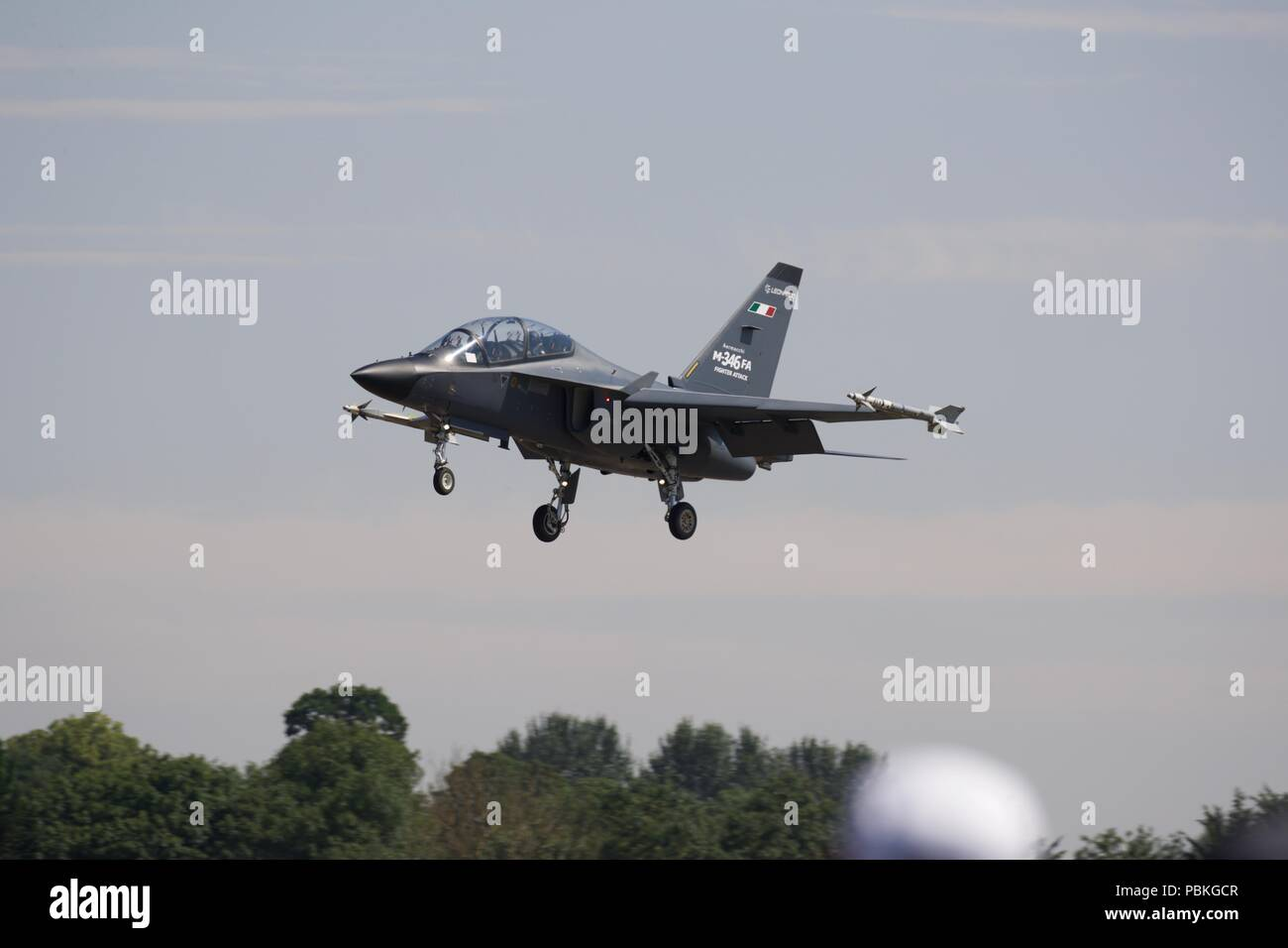 Leonardo Aermacchi M-346FA - Multirole variant capable of air-to-air and air-to-surface combat with advanced radar and stealth features - Stock Image