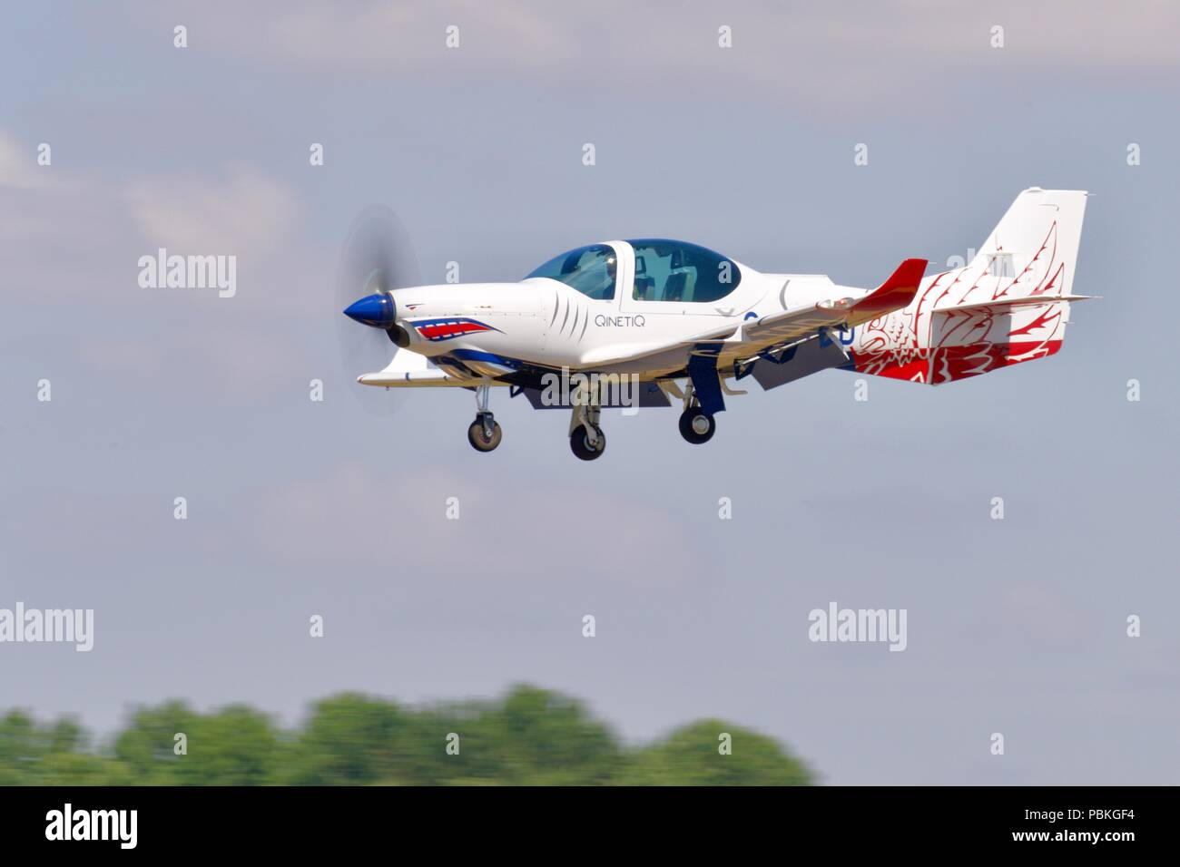 QinetiQ - Grob G-120TP (G-ETPD) landing at RAF Fairford to take part in the static display at the 2018 Royal International Air Tattoo - Stock Image