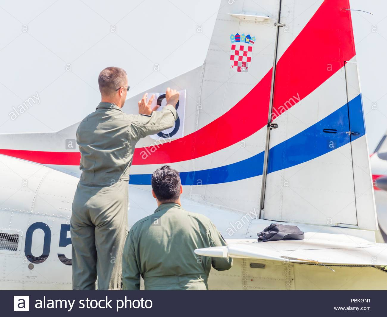 New markings port left-side only applied on Croatian aerobatic group Krila oluje Wings of storm position numberStock Photo