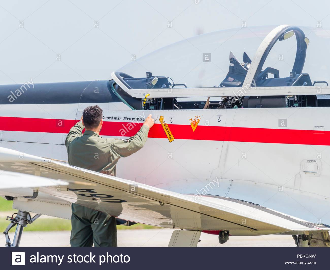 New markings pilots name applied on Croatian aerobatic group Krila oluje Wings of stormStock Photo