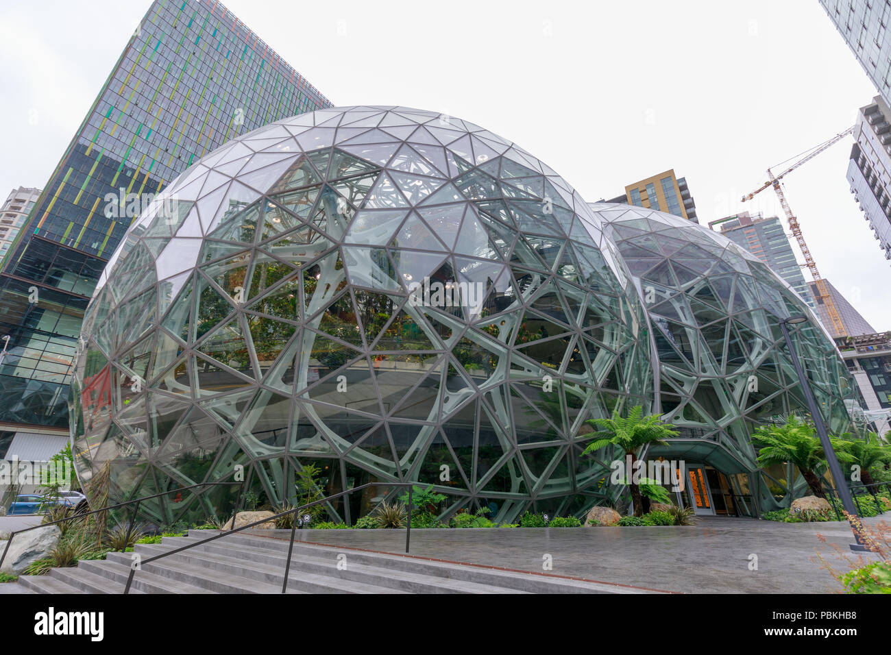 Seattle, Washington - June 30, 2018 : View of Amazon the Spheres at its Seattle headquarters and office tower in Seattle WA USA Stock Photo