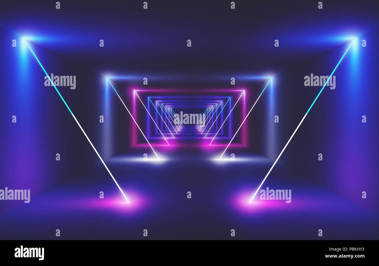 Neon light in a room, 3d render ilustration - Stock Image