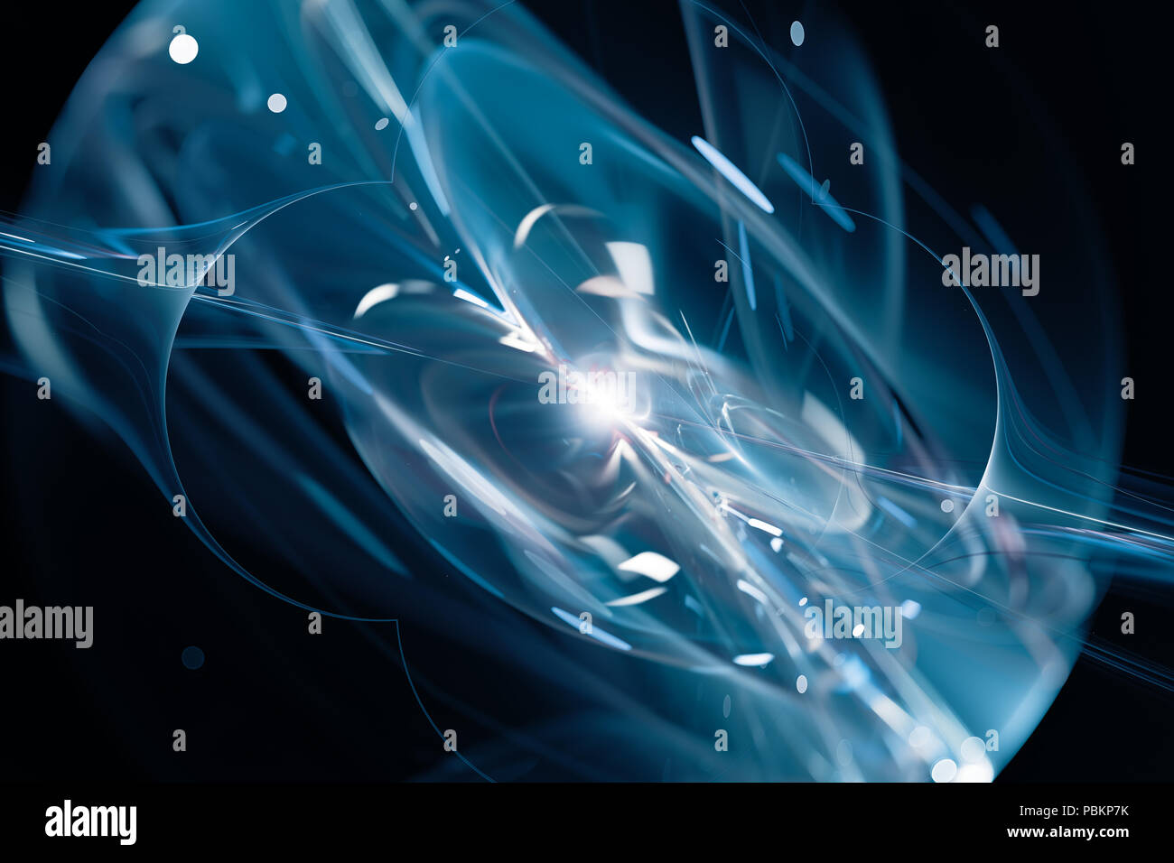 Blue glowing quantum explosion , computer generated abstract background, 3D rendering - Stock Image