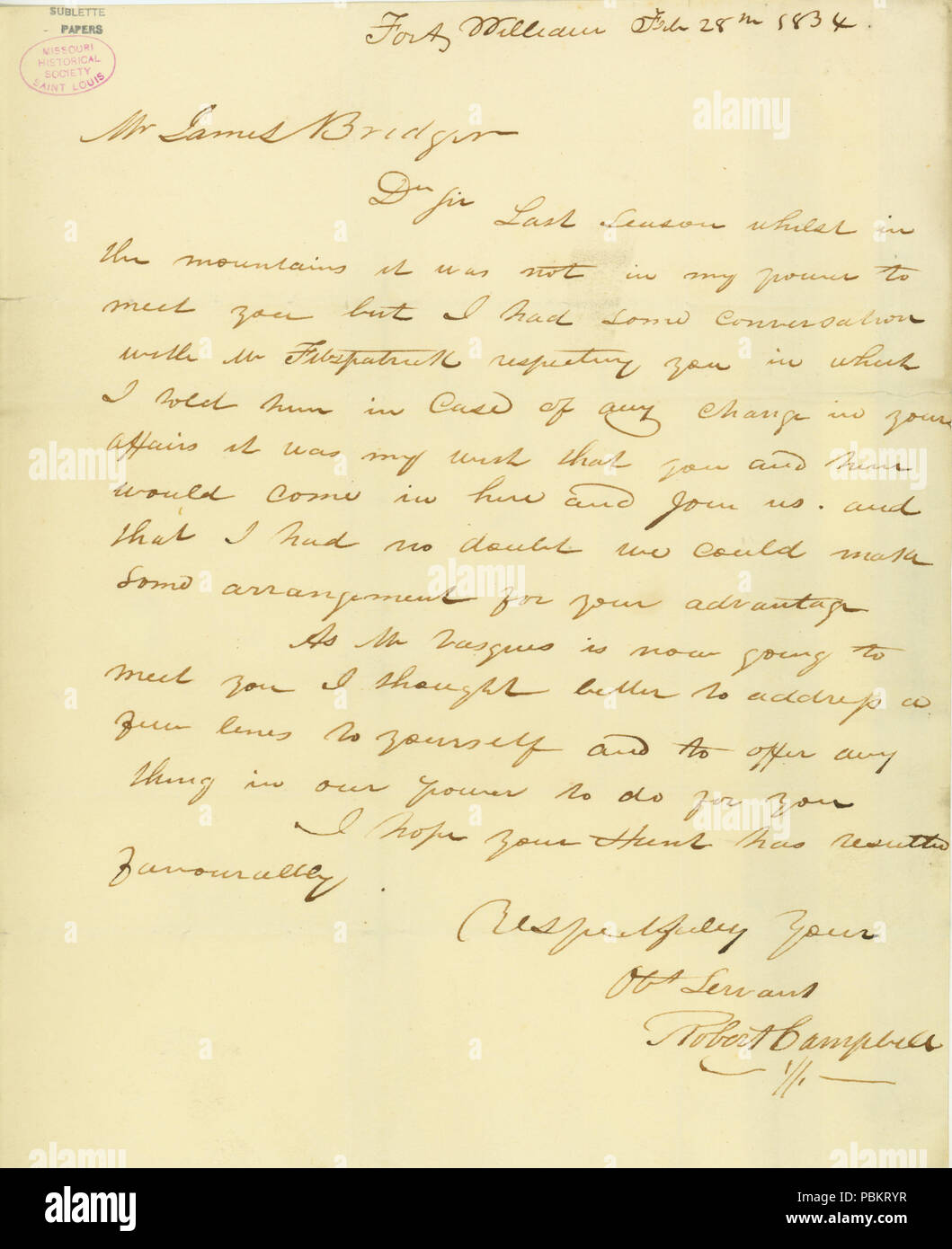 903 Letter from Robert Campbell, Fort William, to James Bridger, Rocky Mountains, February 28, 1834 - Stock Image