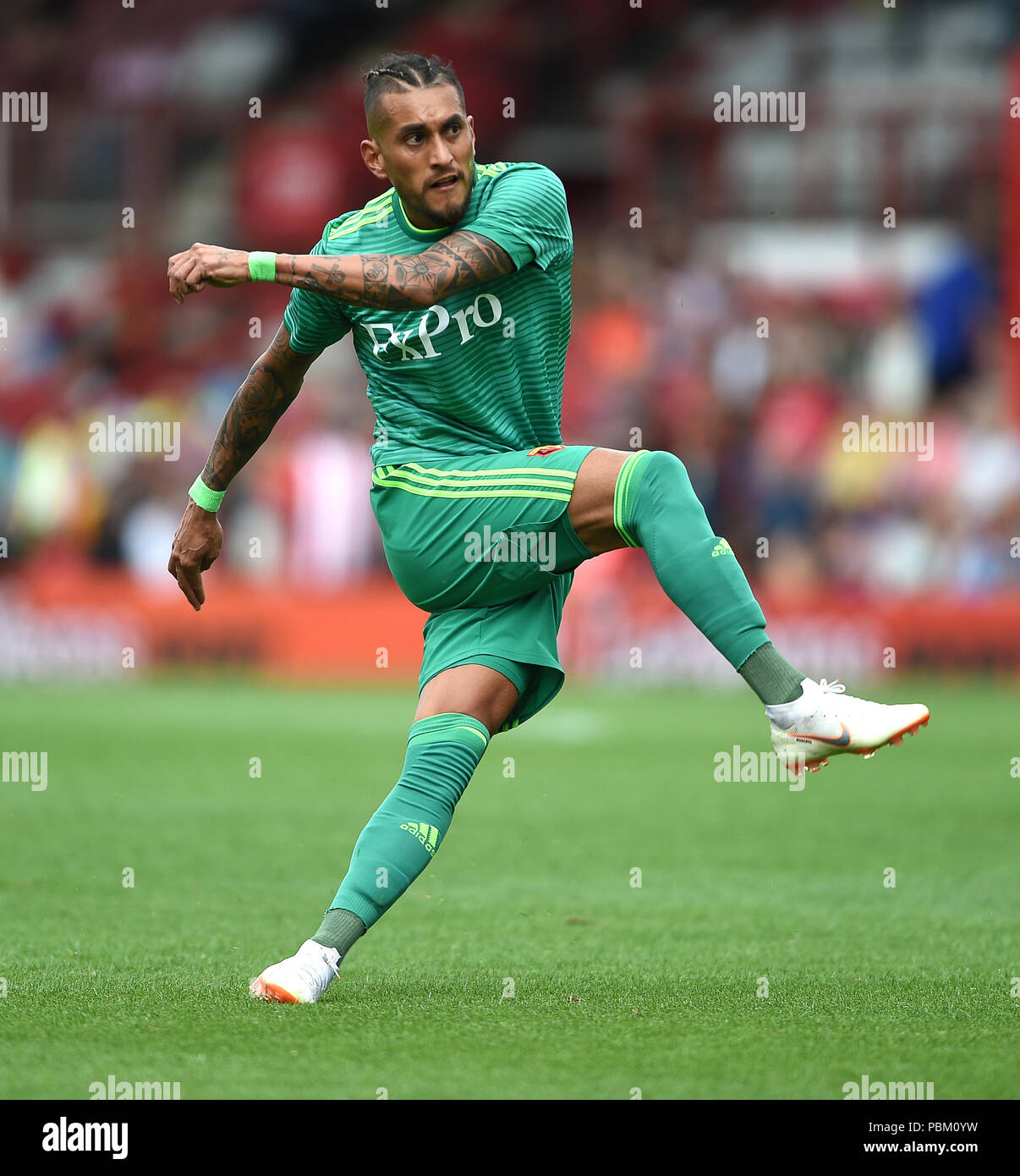 """Watford's Roberto Pereyra during the pre-season friendly match at Griffin Park, London. PRESS ASSOCIATION Photo. Picture date: Saturday July 28, 2018. See PA story SOCCER Brentford. Photo credit should read: Daniel Hambury/PA Wire. RESTRICTIONS: EDITORIAL USE ONLY No use with unauthorised audio, video, data, fixture lists, club/league logos or """"live"""" services. Online in-match use limited to 75 images, no video emulation. No use in betting, games or single club/league/player publications. Stock Photo"""