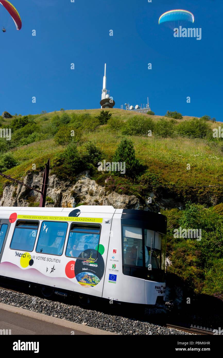Panoramique des Domes, touristic train of Puy de Dome, Regional natural park of Auvergne Volcanoes, Unesco World heritage, Puy de Dome depatment, Auve - Stock Image