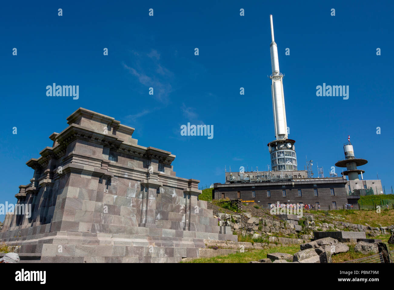 Gallo-Roman temple of Mercury with TV transmitter and observatory behind on the summit of Puy de Dome, Regional natural park of Auvergne Volcanoes, Un - Stock Image