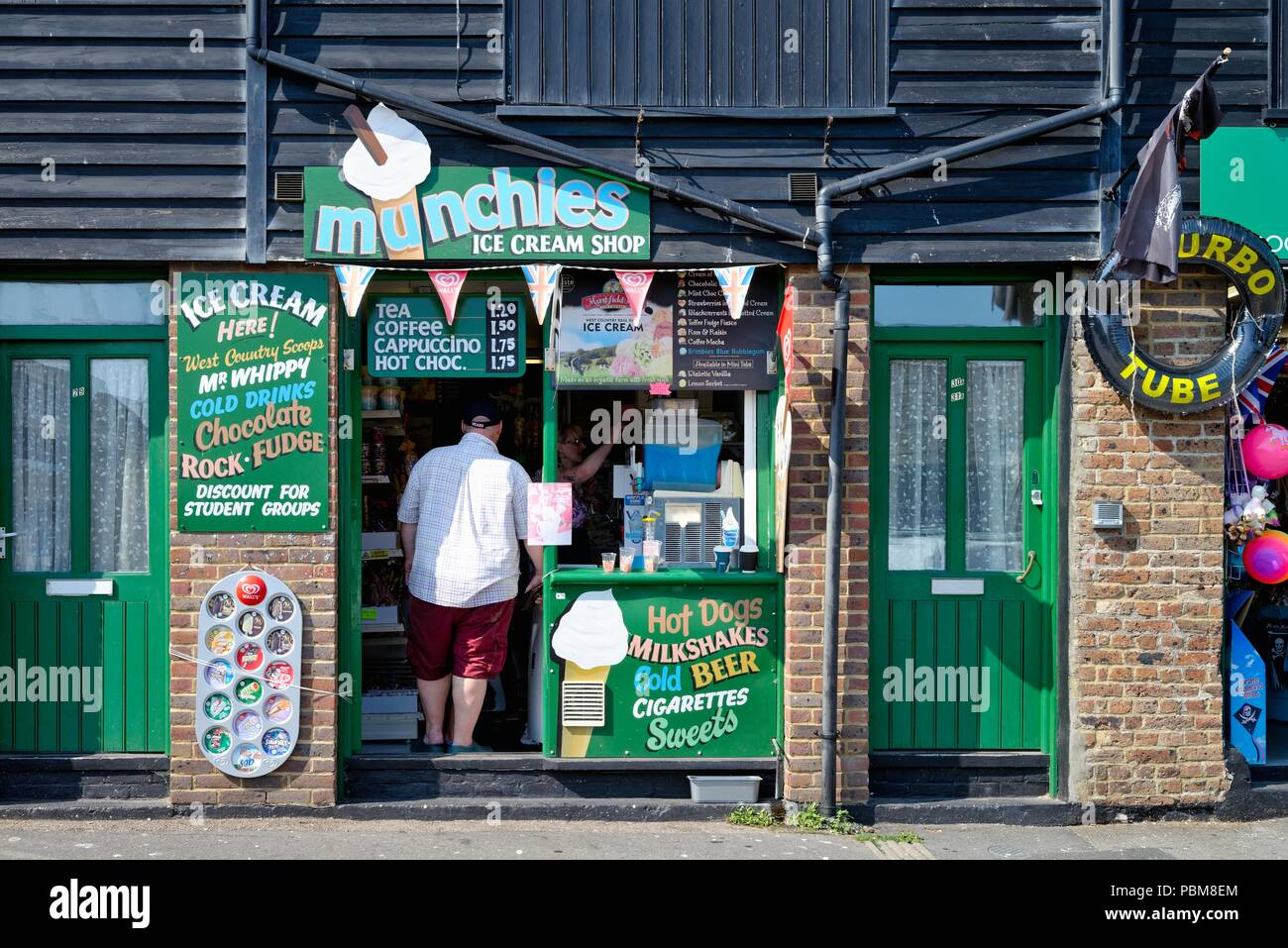 Entrance to the Munchies snack bar in the Rock A Nore area of Hastings East Sussex England UK - Stock Image