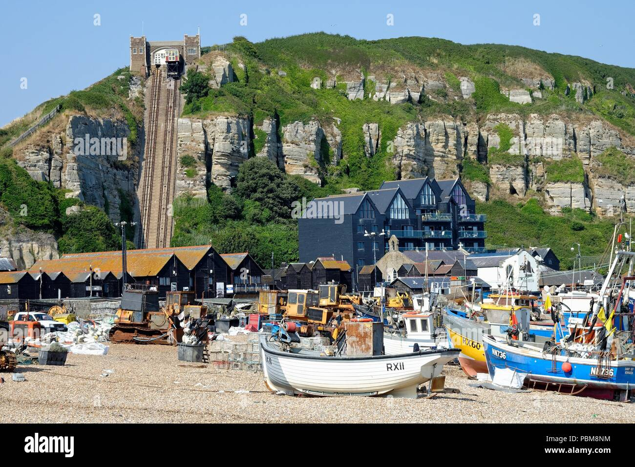 The old Town of Hastings  showing the largest beach launched fishing fleet in Europe East Sussex England UK - Stock Image