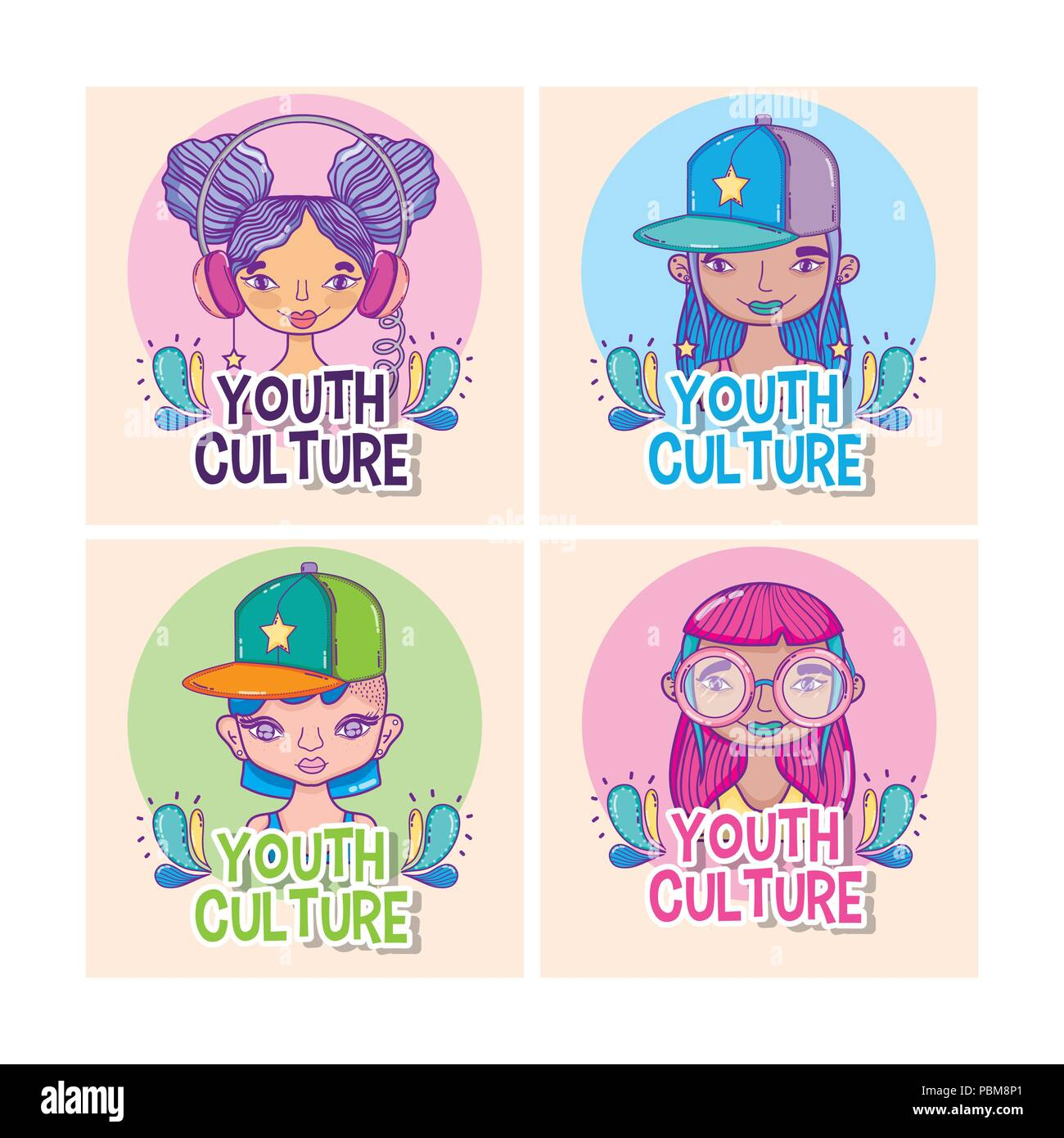 Set of youth culture cartoons - Stock Image
