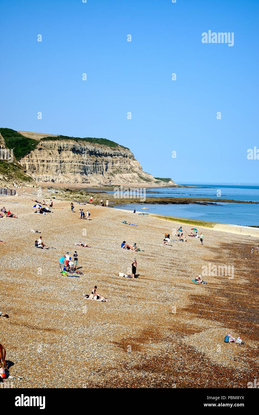 Rock-a-Nore beach Hastings on a hot summers day,  East Sussex England UK - Stock Image