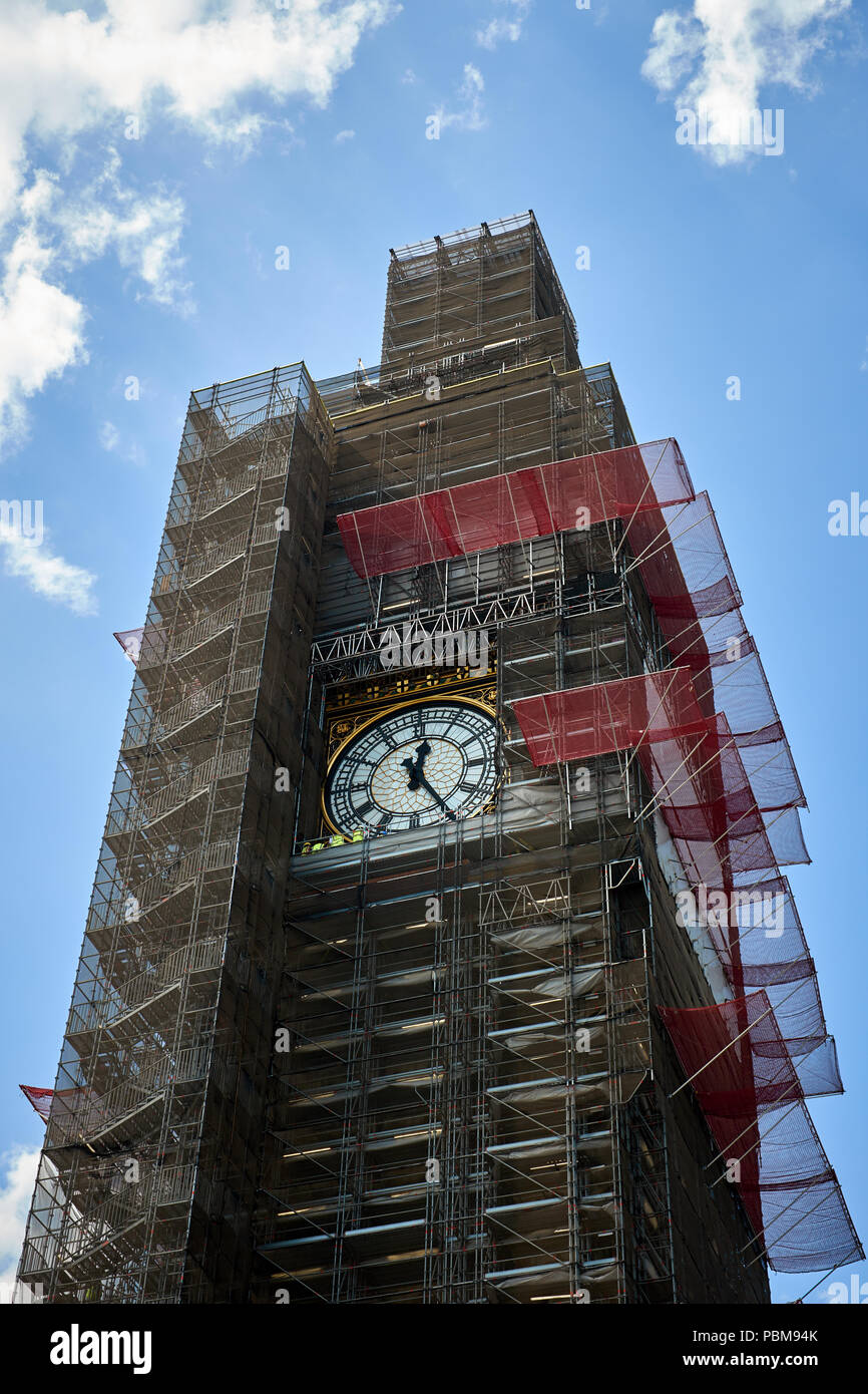 London / UK - 26th July 2018: The Elizabeth Tower housing Big Ben, part of the Houses of Parliament in London, undergoing repair - Stock Image