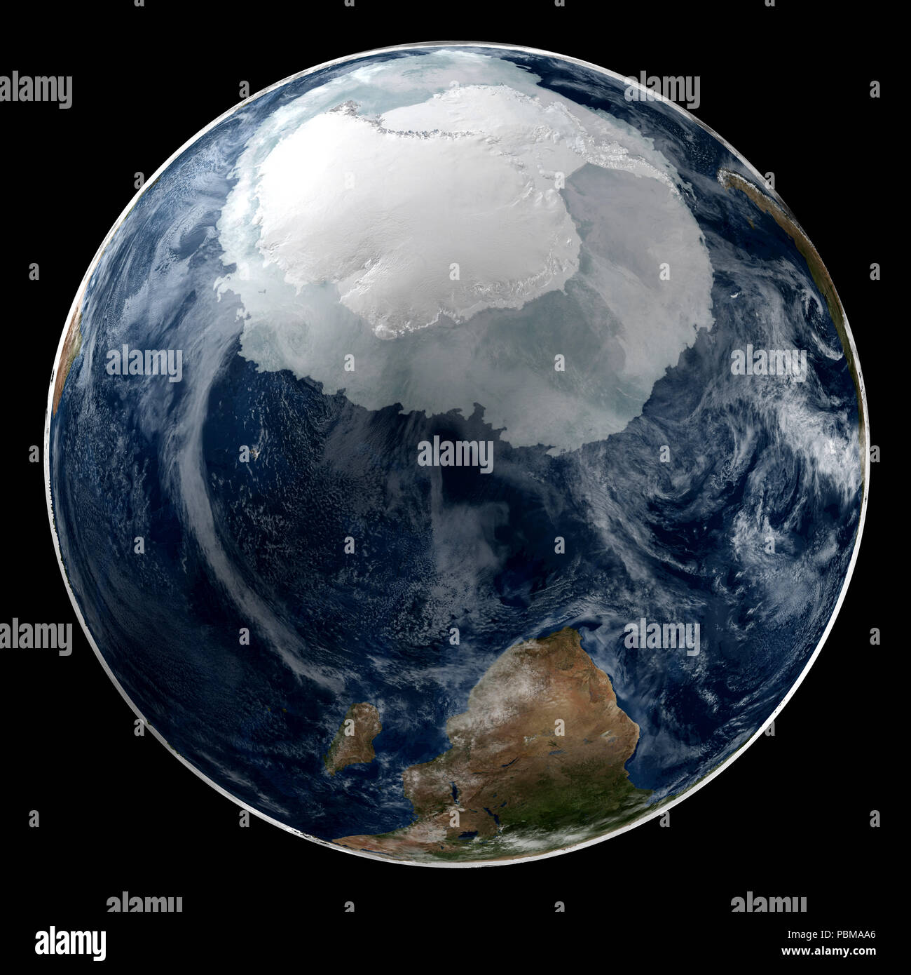 This image shows a view of the Earth on September 21, 2005 with the full Antarctic region visible. - Stock Image