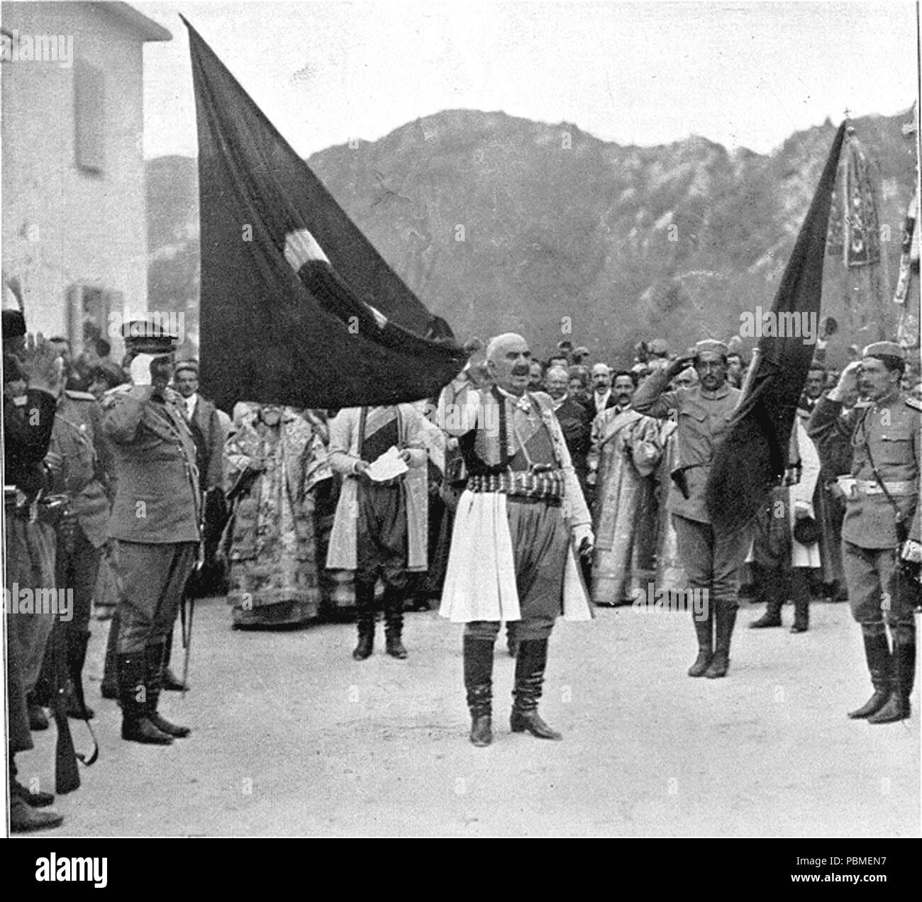 861 King Nicholas of Montenegro with captured Ottoman flag Stock Photo