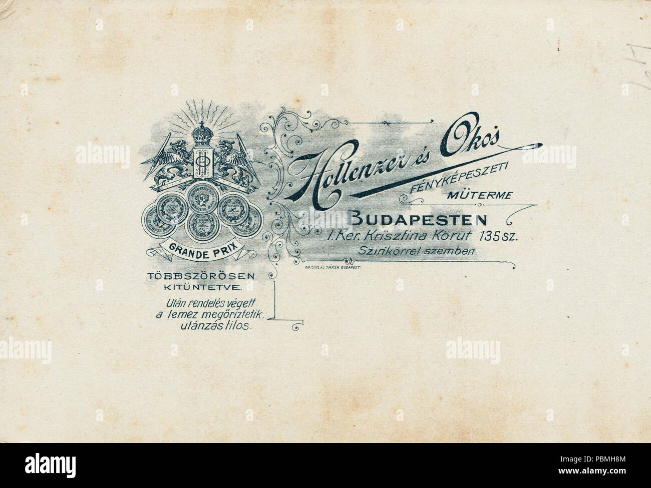 868 Krisztina körút 135., Hollenzer és Okos fényképészeti műterme. Fortepan 81168 - Stock Image